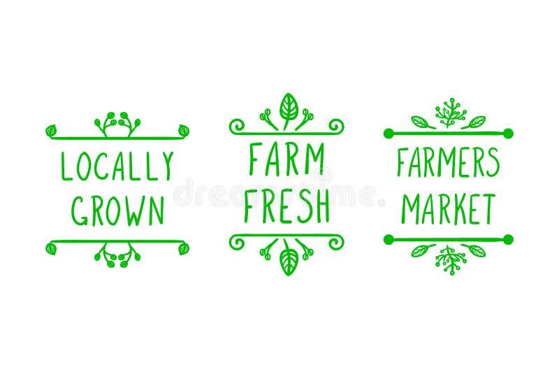 Les icônes agricoles tirées par la main de vecteur, gribouillent les cadres floraux et les lettres manuscrites : Les agriculteurs illustration de vecteur