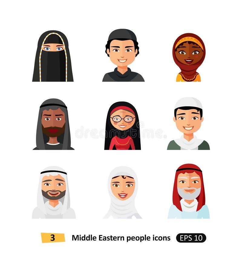 Les icônes arabes musulmanes de caractères d'avatars de personnes réglées dans le style plat ont isolé différents visages ethniqu illustration libre de droits