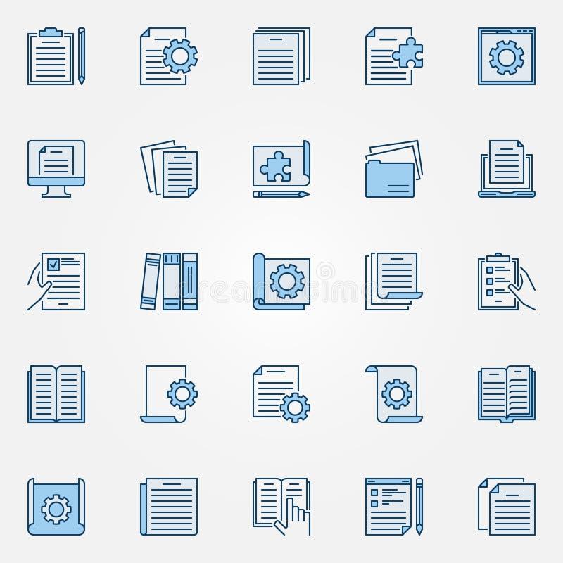Les icônes bleues de documentation technique placent - dirigez les signes de document illustration de vecteur