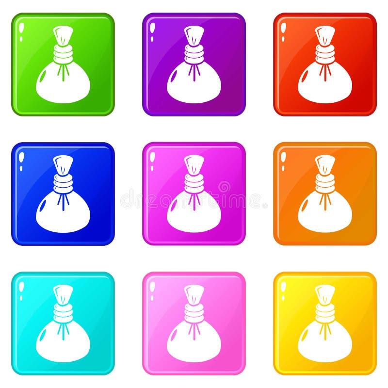 Les icônes chaudes de compresse de station thermale ont placé la collection de 9 couleurs illustration de vecteur