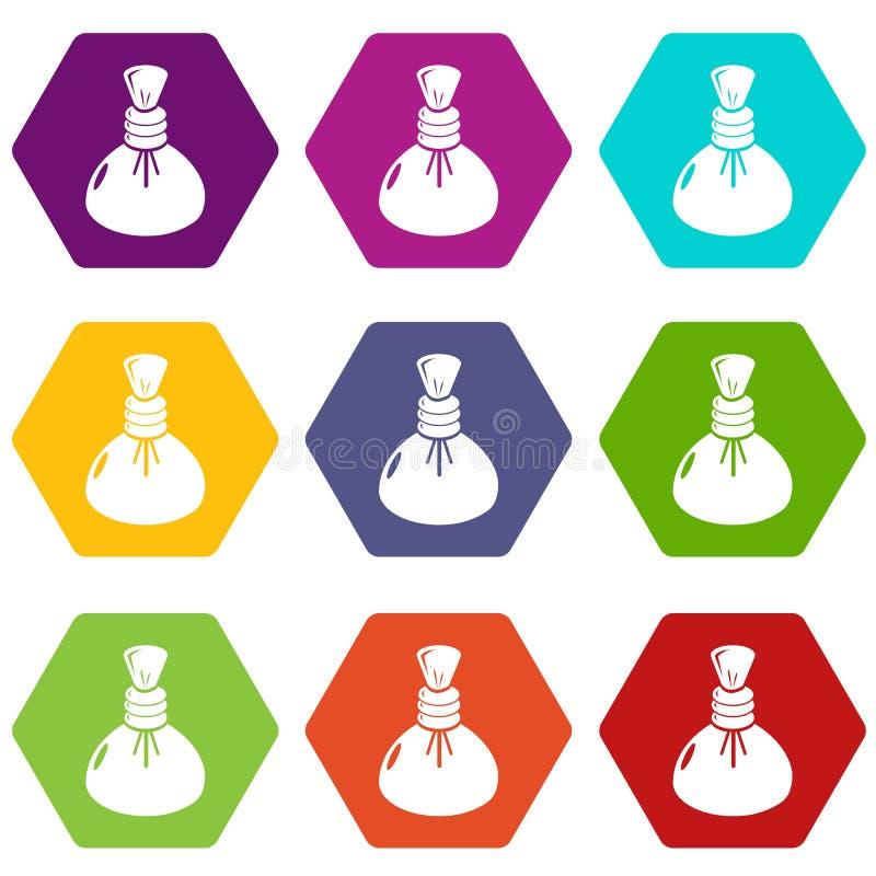 Les icônes chaudes de compresse de station thermale ont placé le vecteur 9 illustration stock