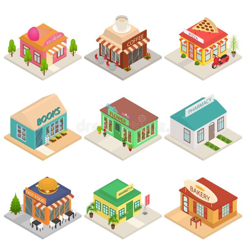 Les icônes commerciales des signes 3d de boutiques de ville ont placé la vue isométrique Vecteur illustration de vecteur