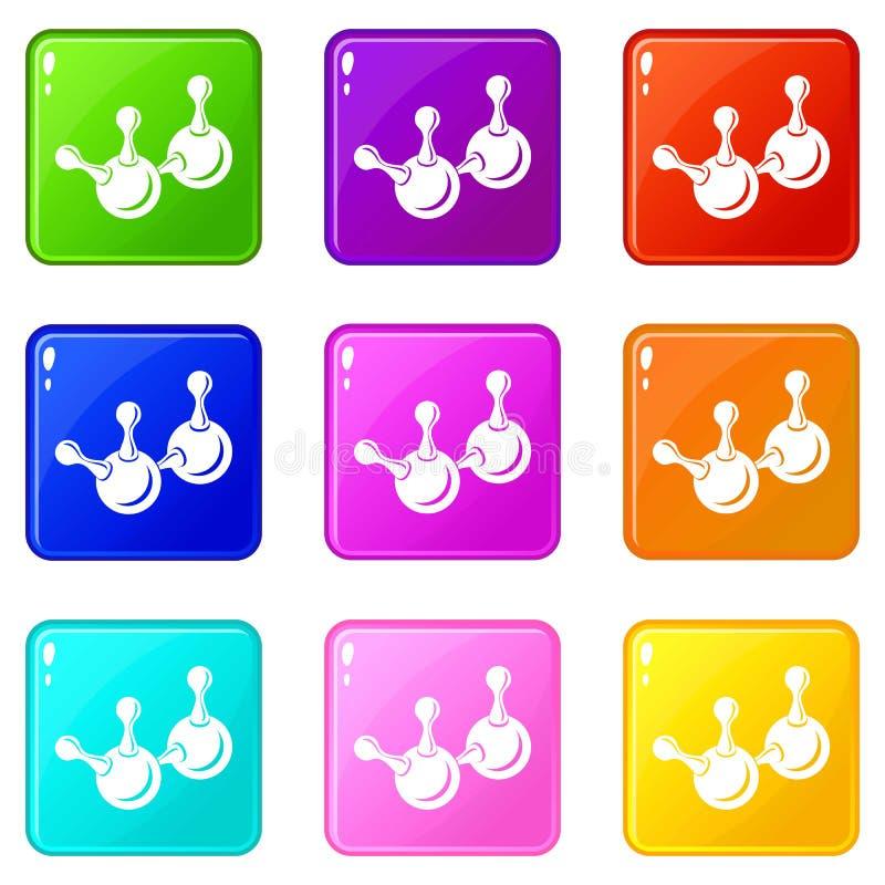Les icônes d'élément de molécule ont placé la collection de 9 couleurs illustration stock