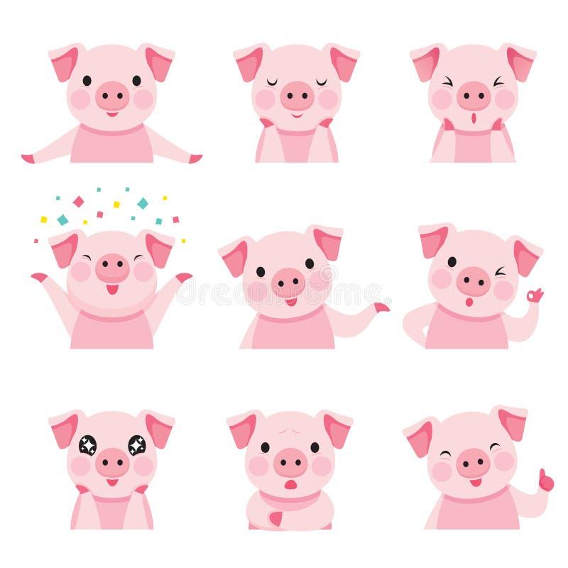 Les icônes d'émoticônes de porc ont placé, année du porc illustration de vecteur