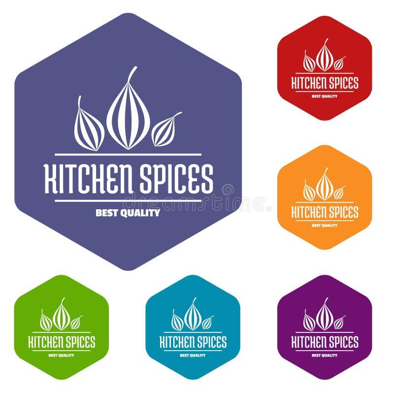 Les icônes d'épice de cuisine d'Eco dirigent le hexahedron illustration de vecteur