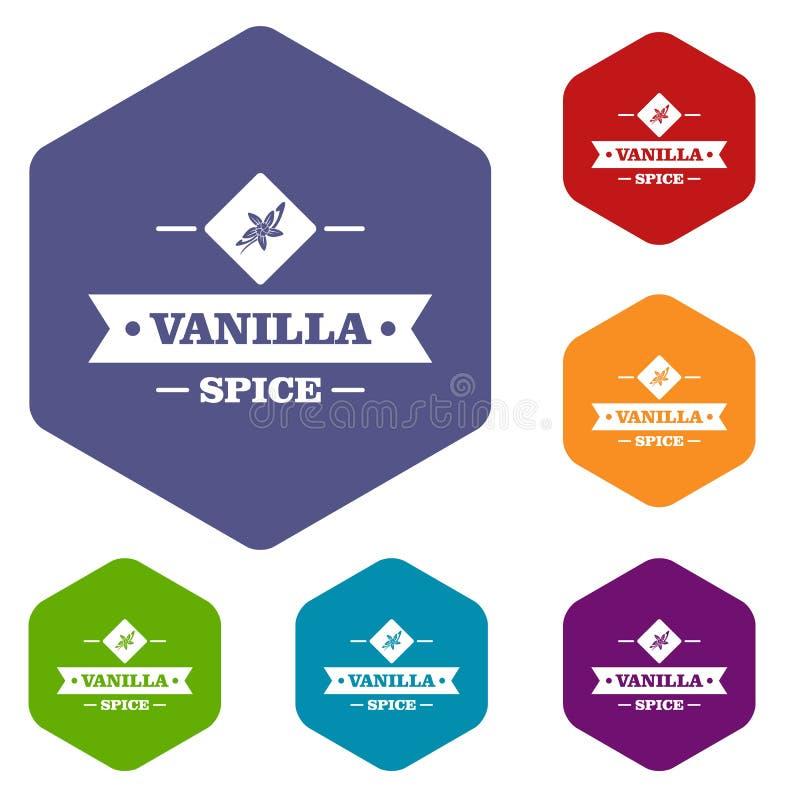 Les icônes d'épice de vanille dirigent le hexahedron illustration libre de droits