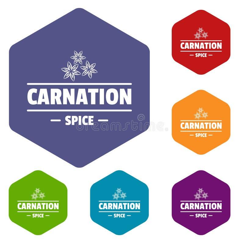 Les icônes d'épice d'oeillet dirigent le hexahedron illustration stock
