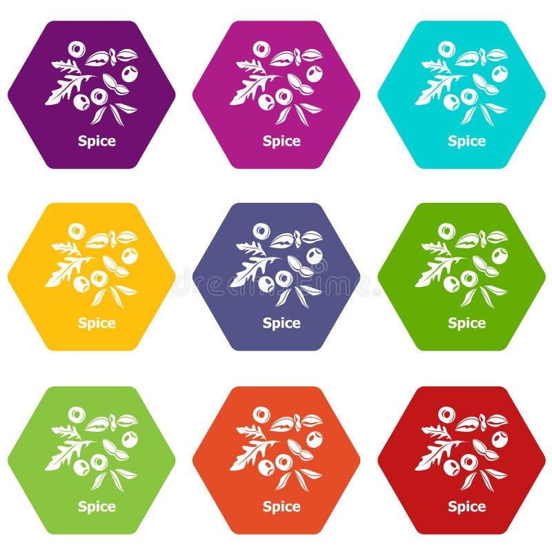 Les icônes d'épice ont placé le vecteur 9 illustration libre de droits