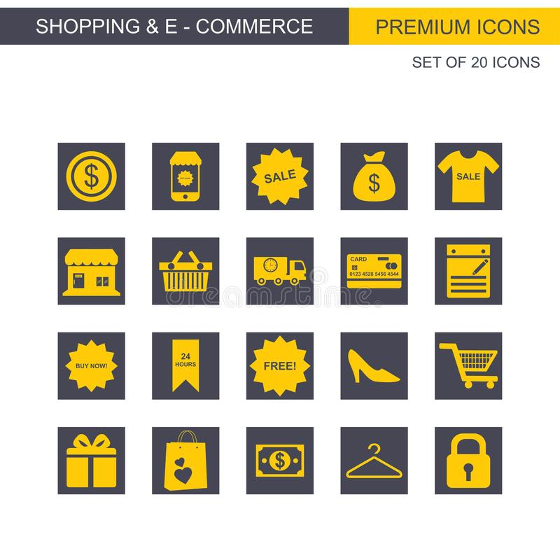 Les icônes d'achats et de commerce électronique ont placé le jaune et le gris illustration stock