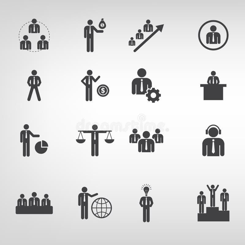 Les icônes d'affaires dirigent l'illustrateur plat de style sur le fond photographie stock