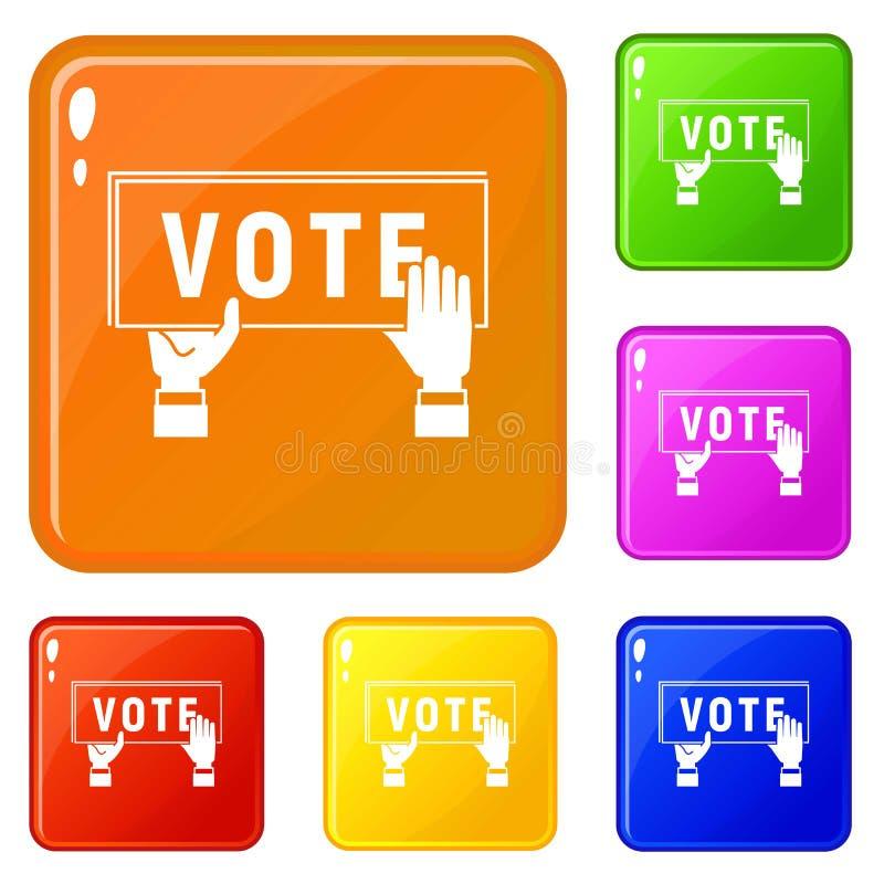Les icônes d'affiche de vote ont placé la couleur de vecteur illustration de vecteur