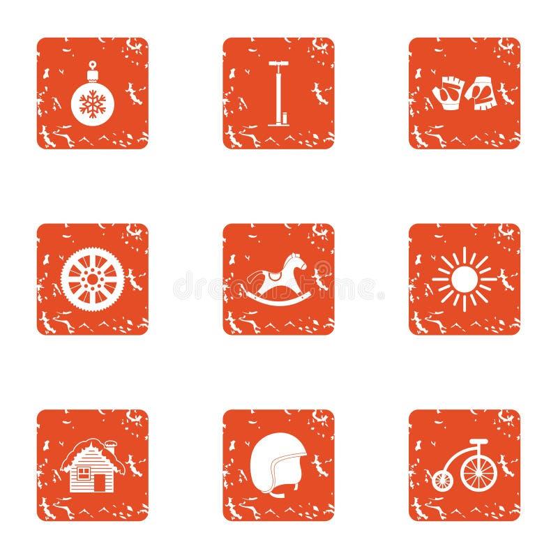 Les icônes d'année les plus proches réglées, style grunge illustration stock