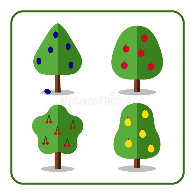 Les icônes d'arbre fruitier ont placé 3 illustration stock