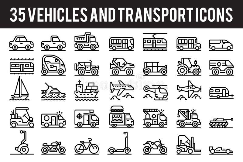 Les icônes d'ensemble du véhicule 35 et du transport signent et des symboles illustration libre de droits