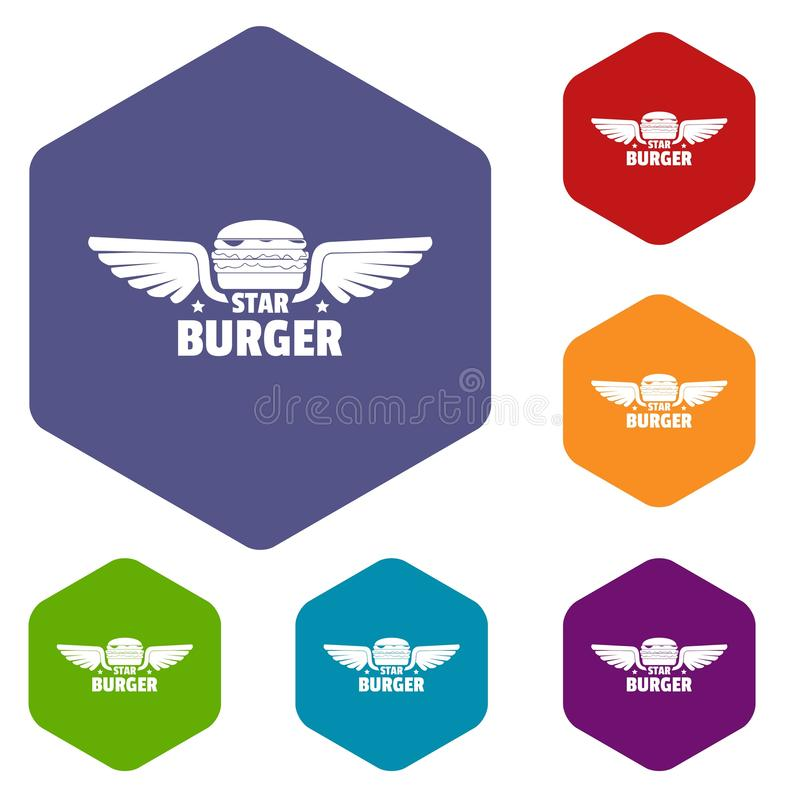 Les icônes d'hamburger d'élément dirigent le hexahedron illustration de vecteur