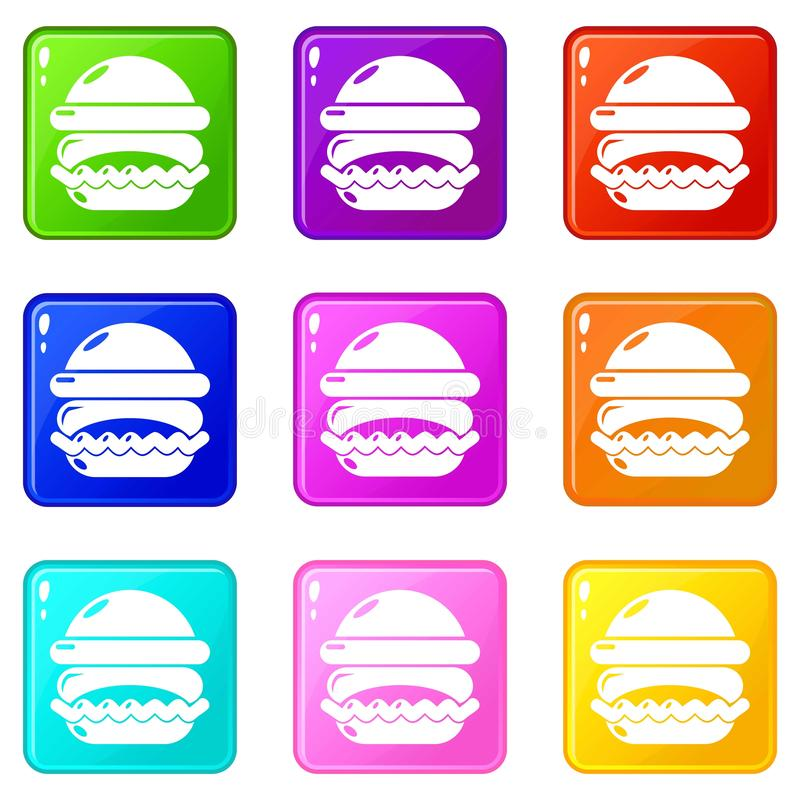 Les icônes d'hamburger ont placé la collection de 9 couleurs illustration libre de droits