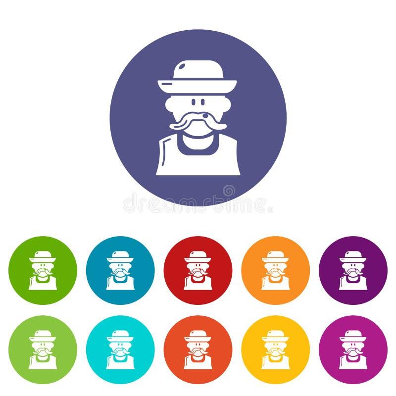 Les icônes d'homme de jardinier ont placé la couleur de vecteur illustration de vecteur