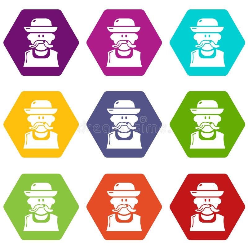 Les icônes d'homme de jardinier ont placé le vecteur 9 illustration libre de droits
