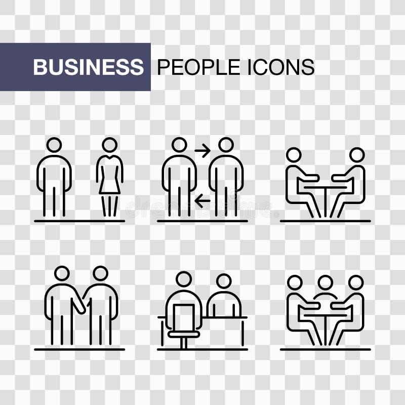 Les icônes d'hommes d'affaires ont placé la ligne simple illustration plate d'isolement illustration libre de droits