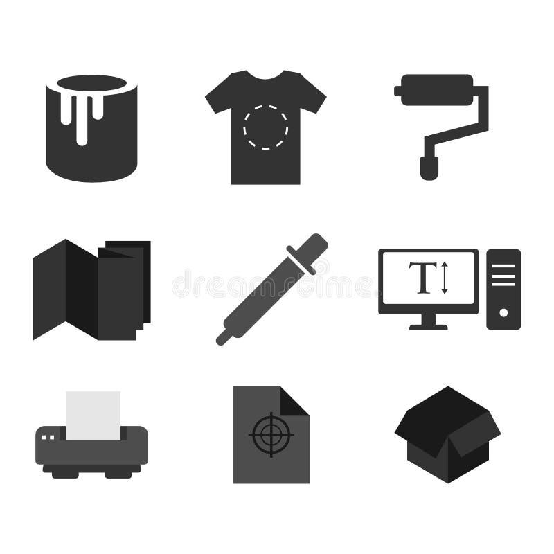 Les icônes d'impression ont placé l'illustration plate de vecteur de conception illustration de vecteur