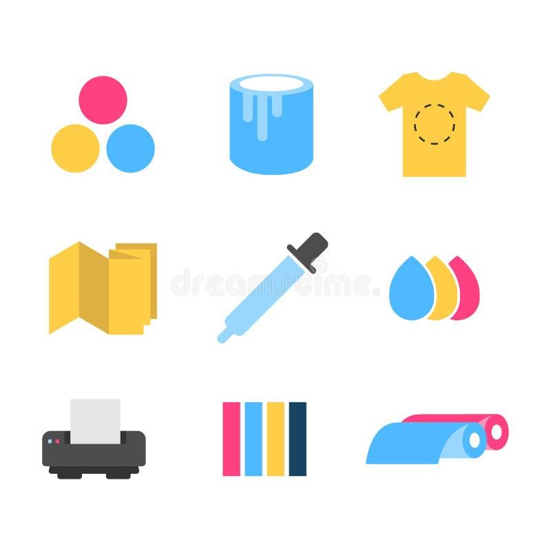 Les icônes d'impression ont placé l'illustration plate de vecteur de conception illustration libre de droits