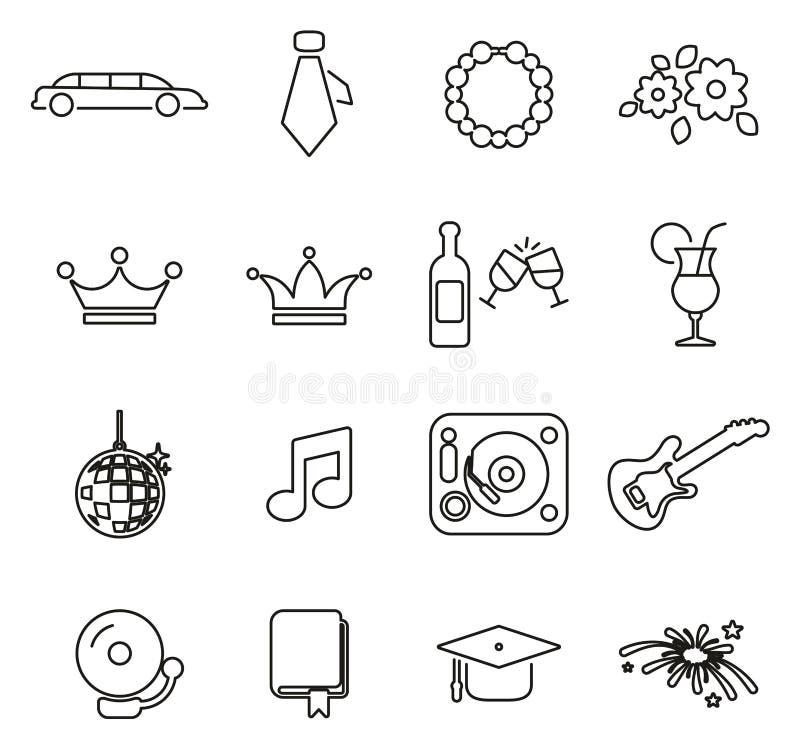 Les icônes de bal de promo amincissent la ligne ensemble d'illustration de vecteur illustration libre de droits