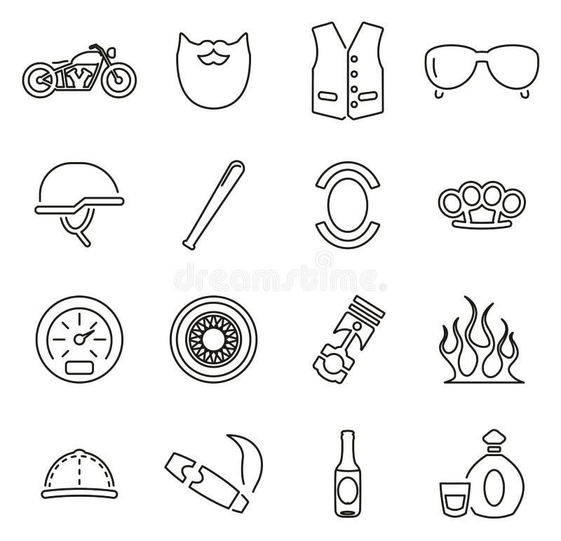 Les icônes de bande de club de moto ou de moto amincissent la ligne ensemble d'illustration de vecteur illustration stock