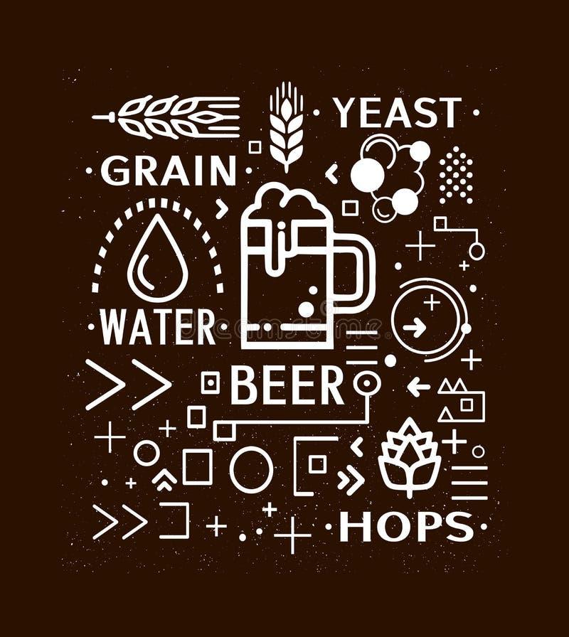 Les icônes de bannière de bière conçoivent illustration stock