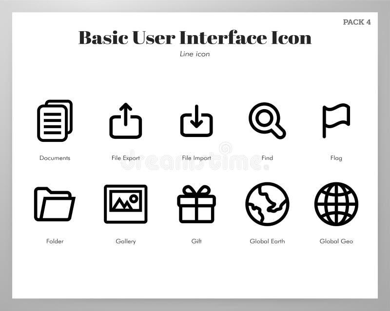 Les icônes de base d'UI rayent le paquet illustration stock
