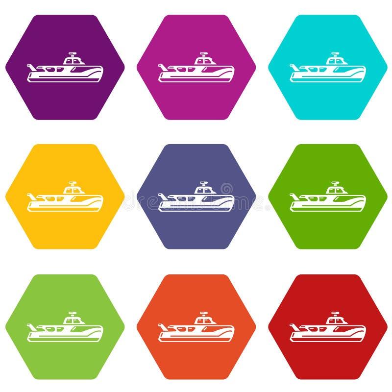 Les icônes de bateau ont placé 9 illustration de vecteur