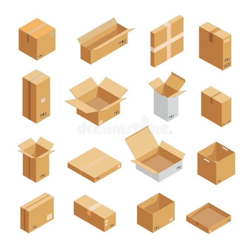 Les icônes de boîte d'emballage de colis ont placé, style isométrique illustration libre de droits