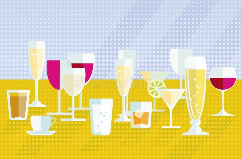 Les icônes de boissons ont placé l'illustration illustration de vecteur
