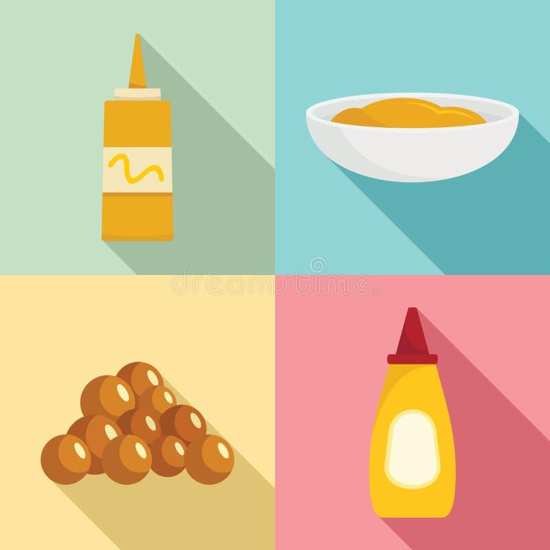Les icônes de bouteille de sauce à graines de moutarde ont placé, style plat illustration libre de droits