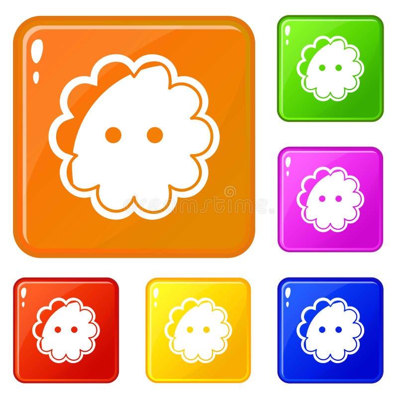 Les icônes de bouton de fleur ont placé la couleur de vecteur illustration libre de droits