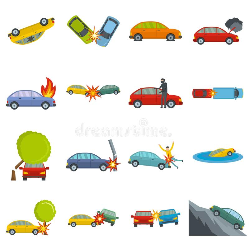 Les icônes de cas d'accident de voiture d'accidents ont placé le vecteur d'isolement illustration de vecteur