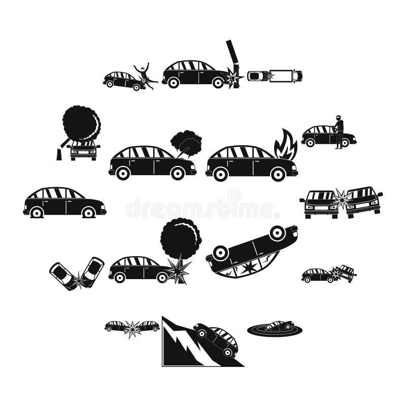 Les icônes de cas d'accident de voiture d'accidents ont placé, style simple illustration stock