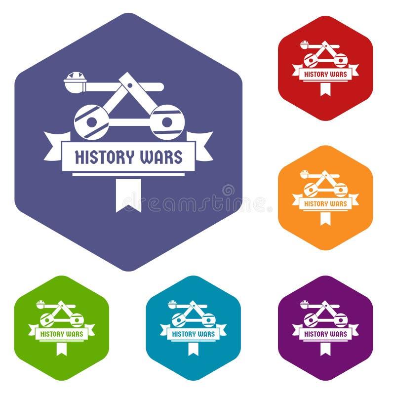 Les icônes de catapulte dirigent le hexahedron illustration de vecteur
