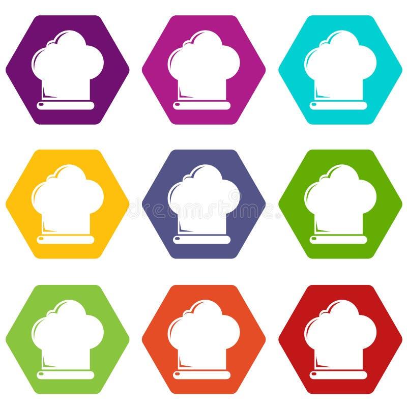Les icônes de chapeau de chef ont placé le vecteur 9 illustration libre de droits