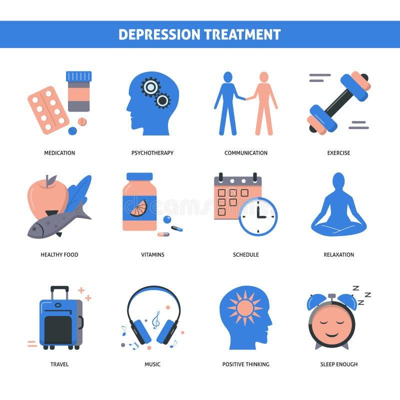 Les icônes de concept de traitement de dépression ont placé dans le style plat illustration libre de droits