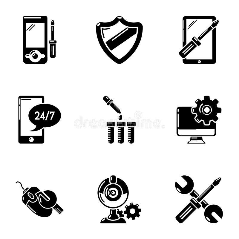 Les icônes de console de jeu de difficulté ont placé, style simple illustration libre de droits