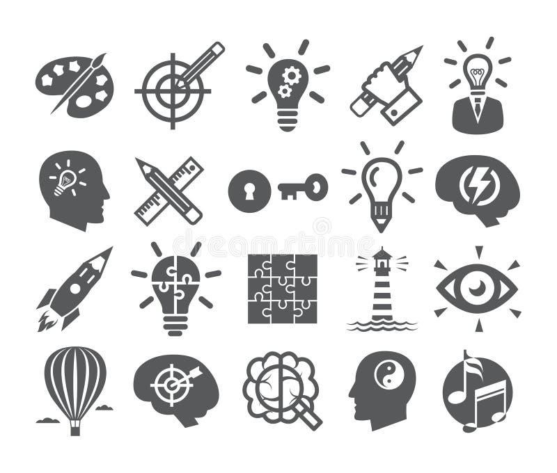 Les icônes de créativité ont placé des icônes pour l'inspiration, idée, cerveau, imagination, résolution des problèmes, puissance illustration de vecteur