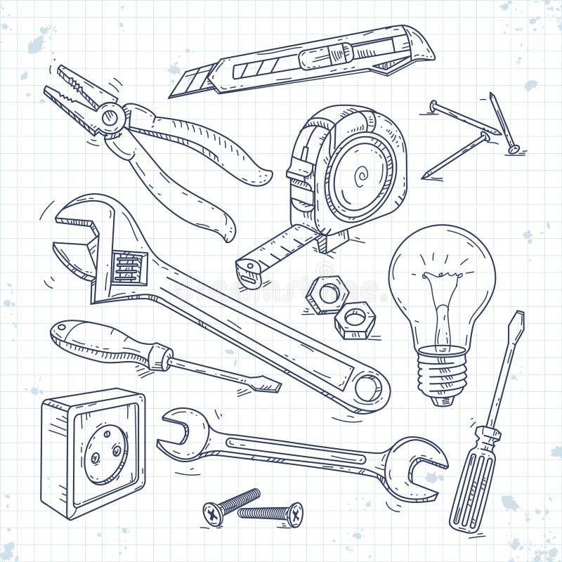Les icônes de croquis de main ont placé des outils de menuiserie, des pinces, du tournevis, de l'ampoule et de la clé illustration stock
