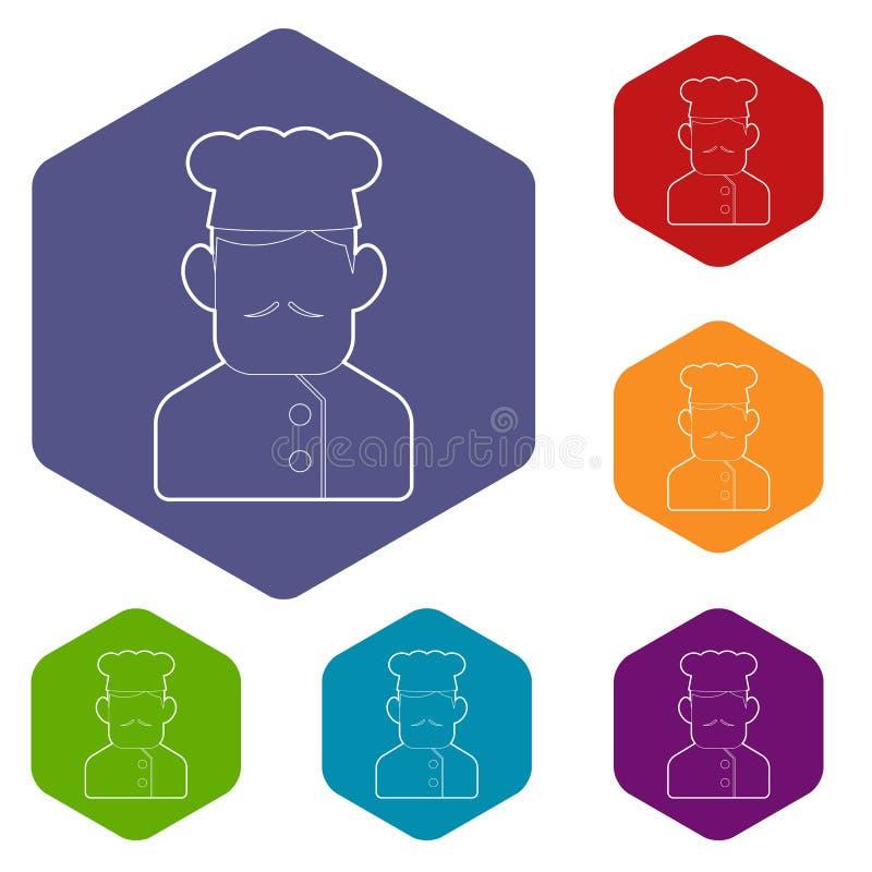 Les icônes de cuisinier de chef dirigent le hexahedron illustration stock