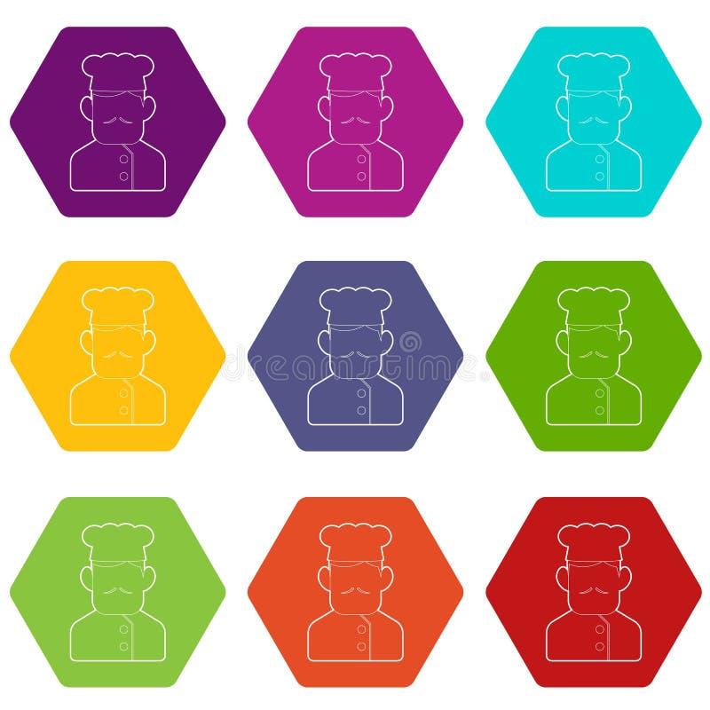 Les icônes de cuisinier de chef ont placé le vecteur 9 illustration libre de droits