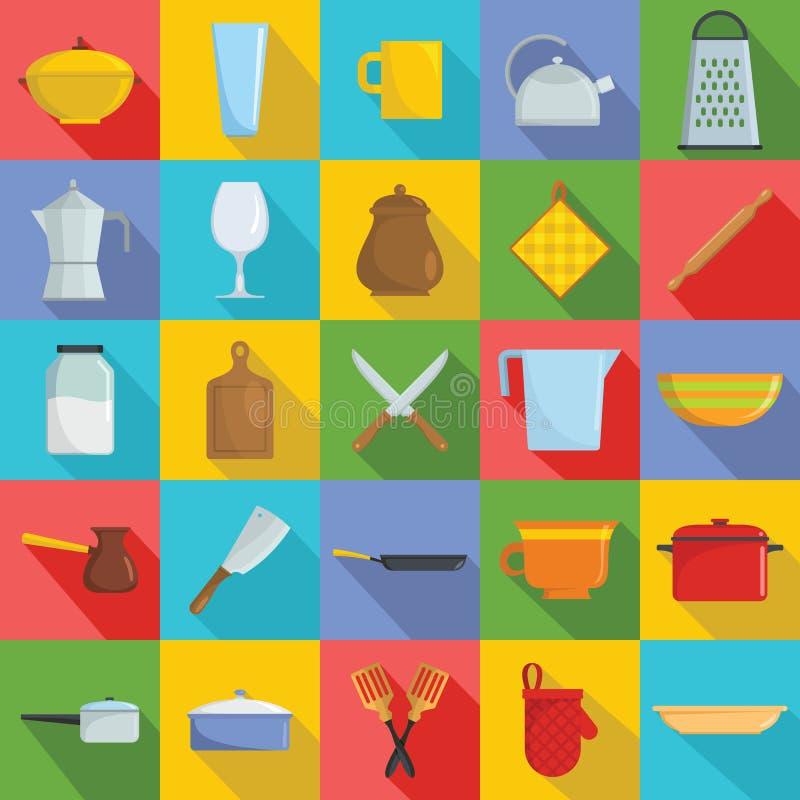 Les icônes de cuisinier d'outils de vaisselle de cuisine ont placé, style plat illustration stock