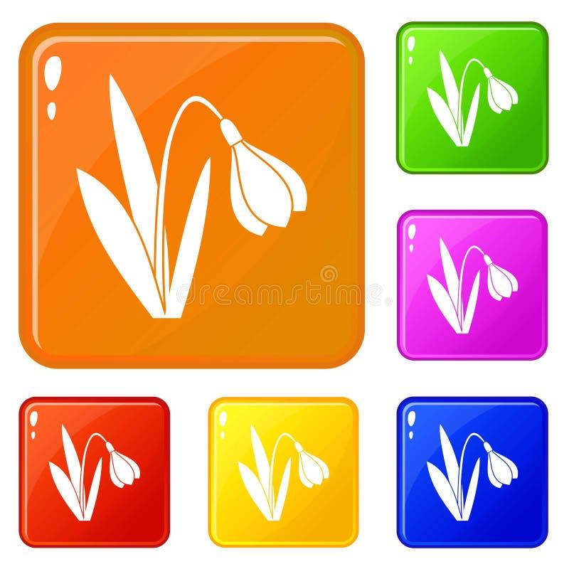 Les ic?nes de fleur de Bell ont plac? la couleur de vecteur illustration libre de droits