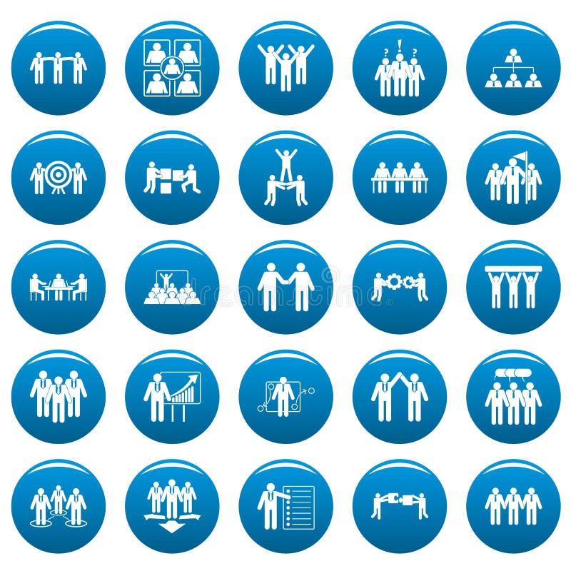 Les icônes de formation de renforcement d'équipe ont placé le vetor bleu illustration stock