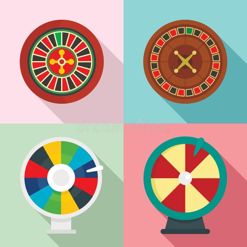 Les icônes de fortune de roue de roulette ont placé, style plat illustration de vecteur