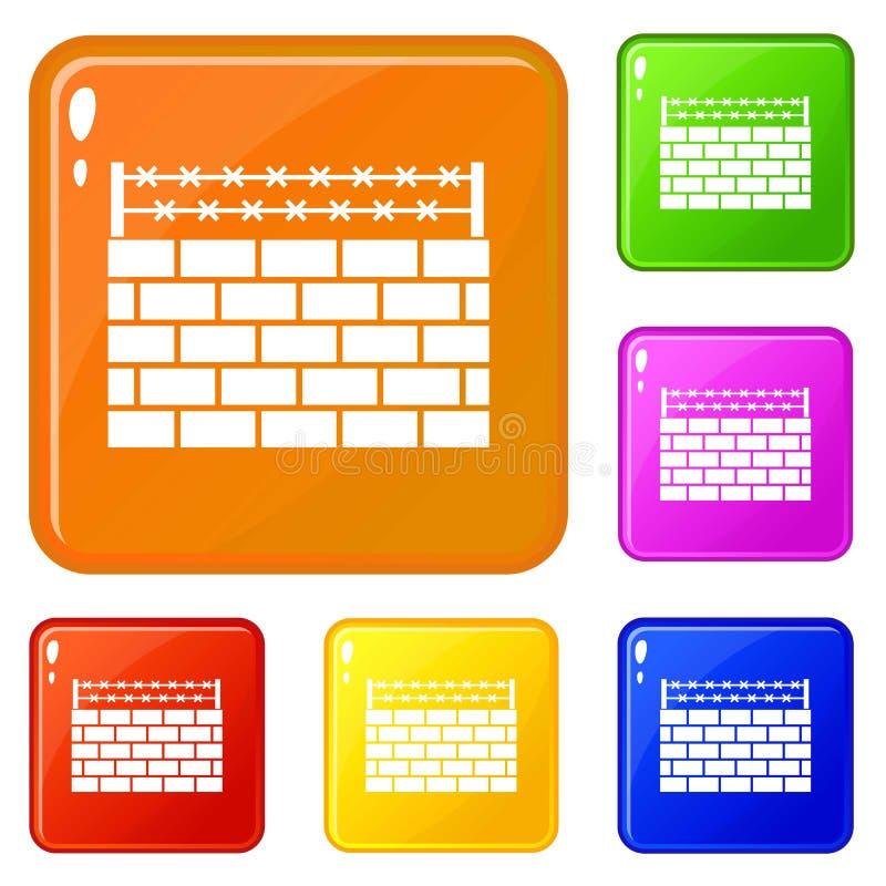 Les icônes de frontière de mur de briques ont placé la couleur de vecteur illustration stock