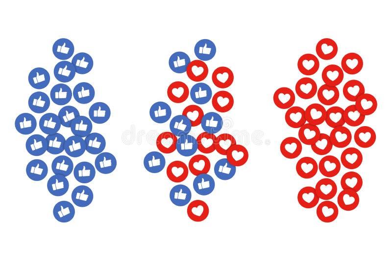 Les icônes de goût et de coeur vole  Les pouces et les boutons rouges de coeur coulent pour la causerie de vidéo en direct ou l'a illustration libre de droits